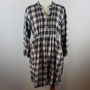 PINK Black, Pink, & White Flannel Babydoll Dress